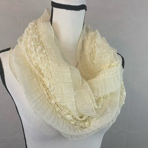 Cream Lace Sequined Infinity Scarf
